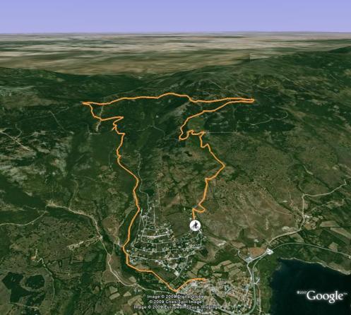 mapa con el track en 3d